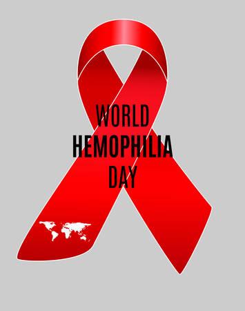 Realistic red ribbon, world hemophilia day symbol. Vector illustration.