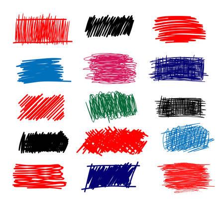Colorful Set of simple bold hatching doodle lines, curves, frames. Ilustração