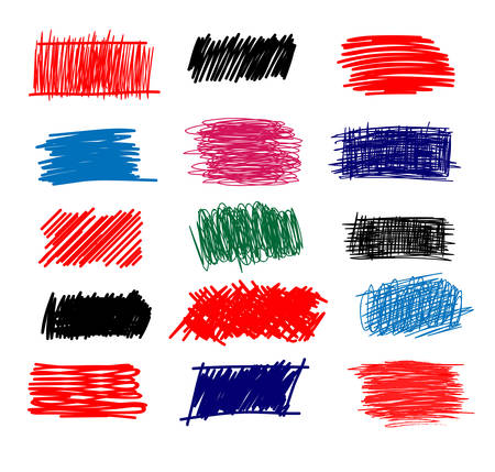 Colorful Set of simple bold hatching doodle lines, curves, frames. Vectores