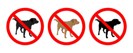 Set of  No Dogs Allowed Signboard isolated on white background. Prohibition sign. Not Allowed Sign. Labrador retriever silhouette. Vector illustration