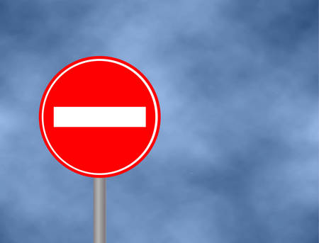 No Entry Traffic sign isolated in sky background. Wrong way road sign prohibition icon illustration. Street / Road Sign : Do Not Enter. Vector illustration Illustration