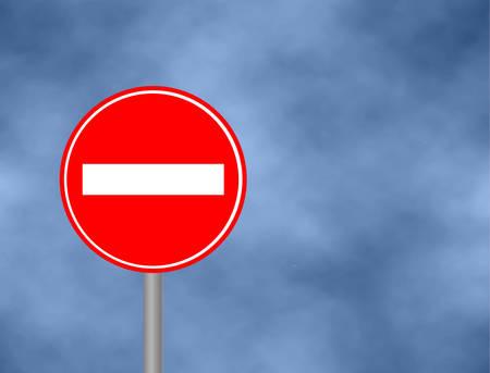 Aucun panneau de signalisation d'entrée isolé sur fond de ciel. Illustration d'icône d'interdiction de panneau de signalisation de manière incorrecte. Panneau de rue / route: n'entrez pas. Illustration vectorielle Banque d'images - 91332173