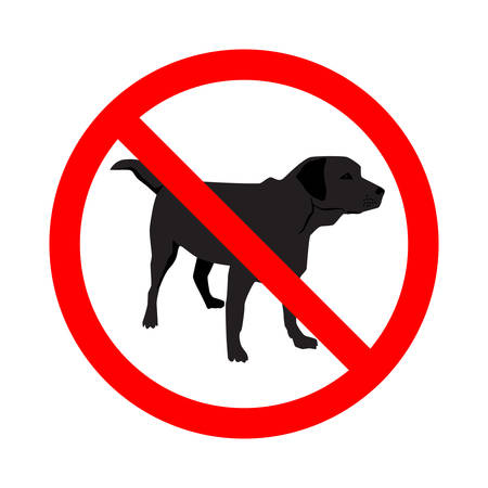 Sign of No Dogs Allowed isolated on white background. Prohibition sign. Not Allowed Sign. Labrador retriever. Vector illustration