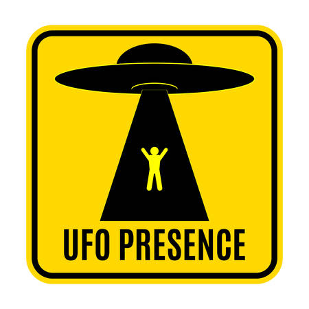 Humorous danger road signs for UFO, aliens abduction theme, vector illustration. Yellow road sign with text Ufo Presence.