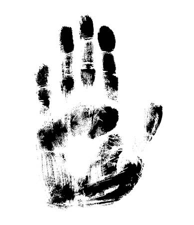 Print of hand of human, cute skin texture pattern, vector grunge illustration. Scanning the fingers, palm on white background Ilustração