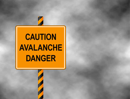 Yellow Bord isolated on a gray sky. A sign warning skiers and snowboarders that the are caution avalanche danger. Vector illustration  イラスト・ベクター素材