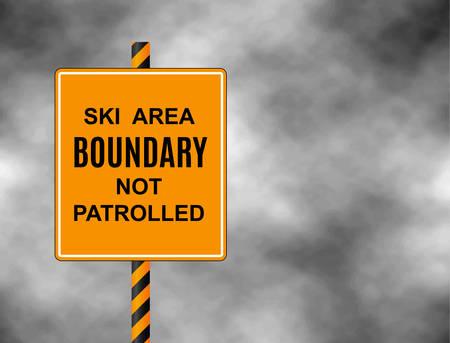 範囲外は、スキーヤーやスノーボーダーに入ろうとしていることを警告し、パトロールいない記号。境界線本文スキー エリア境界パトロールいない