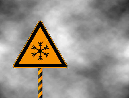 Winter warning sign shows danger of ice and snow at street, highway or road. Snow warning sign (Risk of Ice warning sign) isolated on a grey sky. Vector illustration.