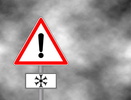 Winter warning sign shows danger of ice and snow at street, highway or road. Snow warning sign (Risk of Ice warning sign) isolated on a grey sky. Vector illustration. Reflective metallic Risk of Ice warning.