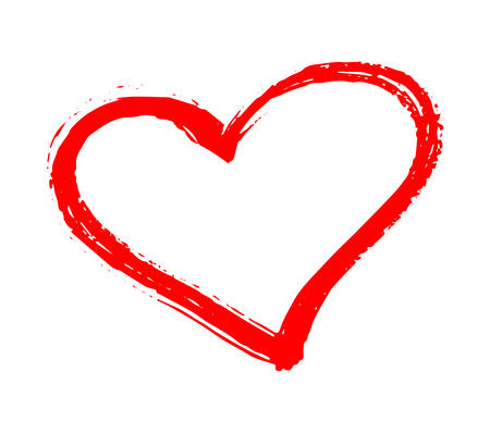 Vector Red Heart Shape. Hand Drawn Heart Frames And Stamps. Grange ...