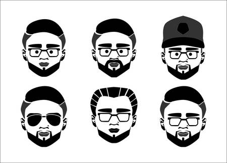Programmer, webmaster, geek or nerd logo vector set. Cartoon face smart boy with glasses. Icons for education, gaming, technological or scientific applications and sites. Avatar set man face