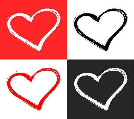 A Vector set of red, black and white hearts shape. Hand drawn heart frames and stamps. Grunge brush painting Valentine's Day symbol Illustration