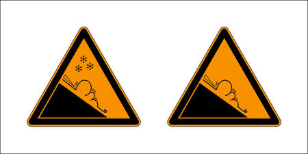 Winter snow covered mountains and warning set sign of avalanche danger isolated on a white background. Danger sign avalanches of ice and snow at highway or road.