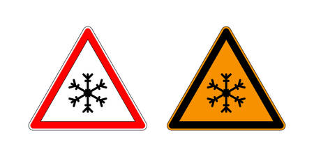Winter warning set sign shows danger of ice and snow at street, highway or road. Snow warning sign isolated on a white background.
