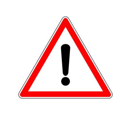 Yield Triangle Sign Road traffic coordination symbol. Road sign warning attention with an exclamation mark.