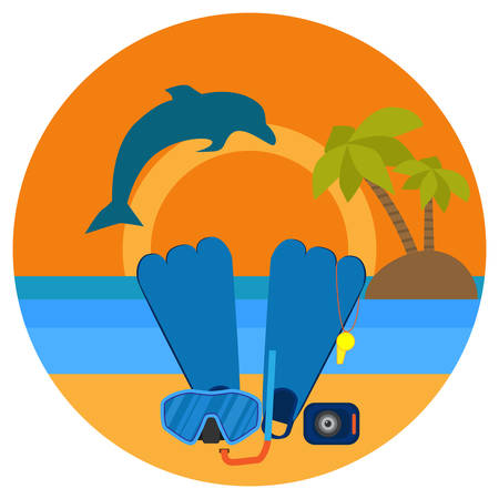 Diving in tropical sea off paradise island. Beach vacation, palm tree, dolphin, diving mask, snorkel, yachting. Tropical sunset. Surf and beach. Summer concept. Sea leisure sport. Diving equipment.