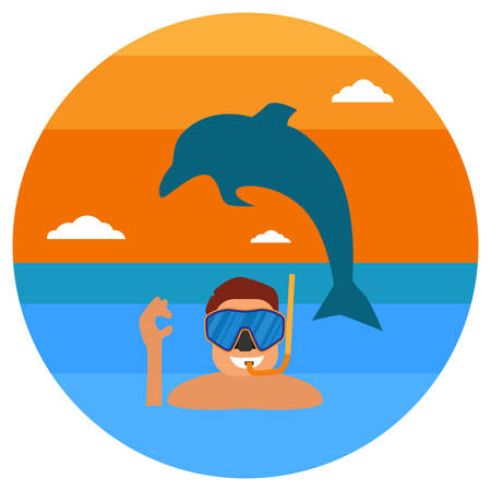 Underwater sportsman with mask and flippers. Scuba diver man in round diving suit icon. Summer diving concept with diver in wet suit and undersea elements: snorkel, dolphin. Vector illustration.