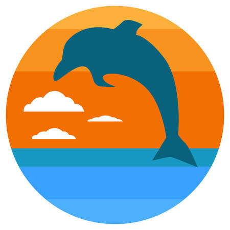 Cartoon Silhouette of dolphin jumping out of water in the ocean at sunset. summer concept. Vector illustration.