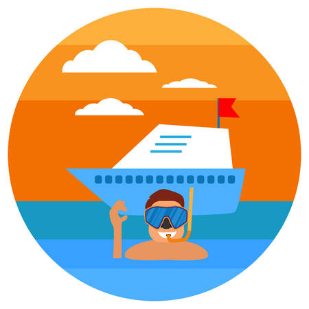 Diving in tropical sea. Beach vacation, diving mask, snorkel, yachting. Tropical sunset. Summer concept. Sea leisure sport. Diving equipment. Vector illustration. Illustration