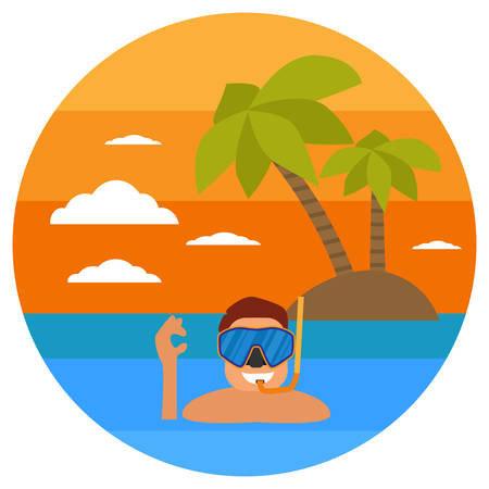 Diving in tropical sea off paradise island. Beach vacation, palm tree, diving mask, snorkel. Tropical sunset. Surf and beach. Summer concept. Sea leisure sport. Diving equipment.