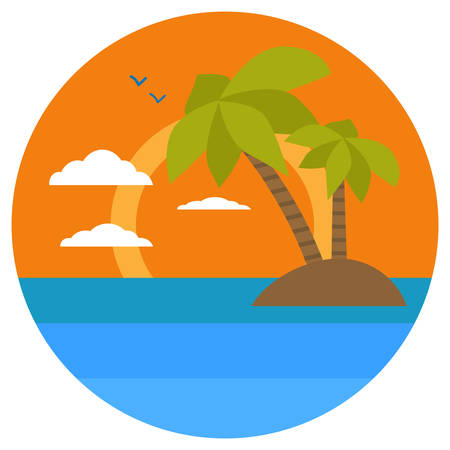 Cartoon tropical island, palms, dolphin. Summer banners with marine symbols. Vector illustration. Tropical sunset. I love summer concept.
