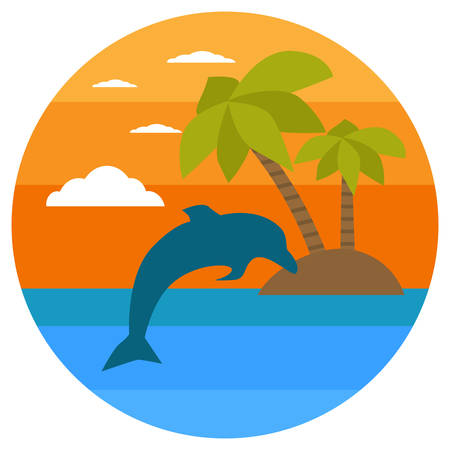 Tropical island, palms, dolphin. Summer Banners with marine symbols. Vector illustration. Tropical sunset. I love summer concept.Silhouette of dolphin jumping out of water in the ocean at sunset.