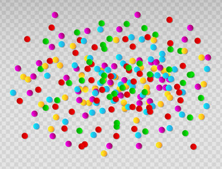 Bright colorful round confetti frame isolated on transparent background vector illustration.