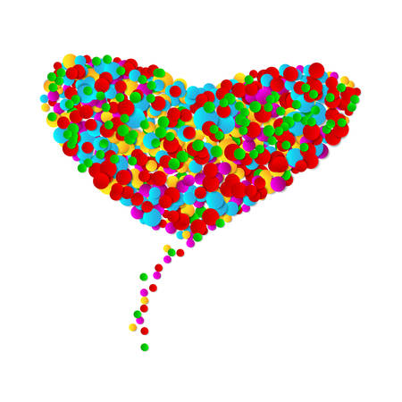Big heart made from round shapes multicolor confetti on white background. Bright colorful small dots. Vector illustration.  イラスト・ベクター素材
