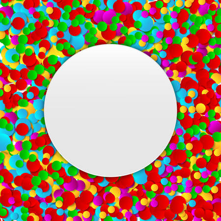 Multicolored festive paper confetti background. Colorful round celebration banner with confetti. Vector illustration for decoration of holidays, postcards, posters, carnivals, birthday parties