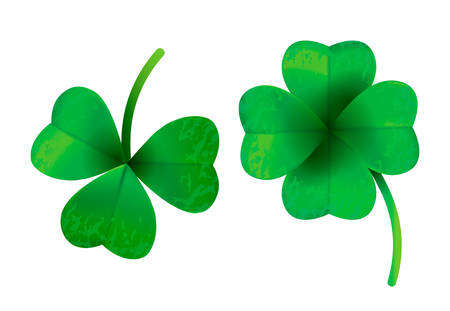Four leaf clover isolated on white background, vector illustration for St. Patrick's day  イラスト・ベクター素材