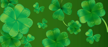 Saint Patricks Day Background Design with Green Falling Clovers Leaf. Irish Lucky Holiday Vector Illustration for Greeting Card, Party Invitation or Promo Banner. Vector Illustration.