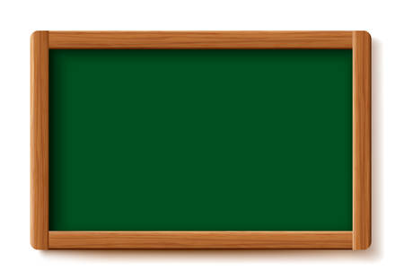 Green menu chalkboard. Wood board frame isolated on white background. School board. Room to add text. Vector illustration design.  イラスト・ベクター素材