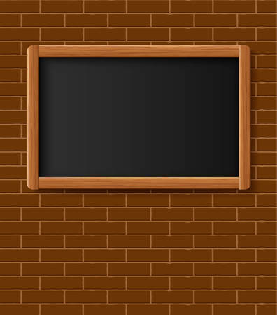 Menu chalkboard, bulletin board hanging on brick wall. Frame of wooden boards against a backdrop of brick wall. Room to add text. Vector illustration.