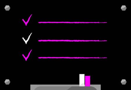 Menu chalkboard. Flat black school board. Room to add text development, team work, agenda, to do list. Vector illustration