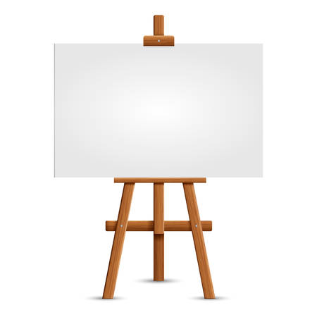 Blank art board and realistic wooden easel. Wooden Brown Easel with Mock Up Empty Blank Square Canvas Isolated on white background. Vector illustration