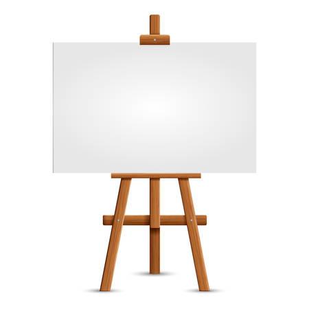 Tablero de arte en blanco y caballete de madera realista. Caballete marrón de madera con maqueta lienzo cuadrado en blanco vacío aislado sobre fondo blanco. Ilustración vectorial Ilustración de vector