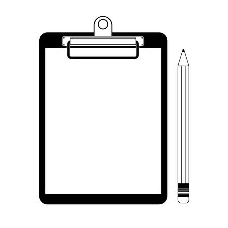 White blank paper with pencil on clipboard symbol vector illustration on white background.