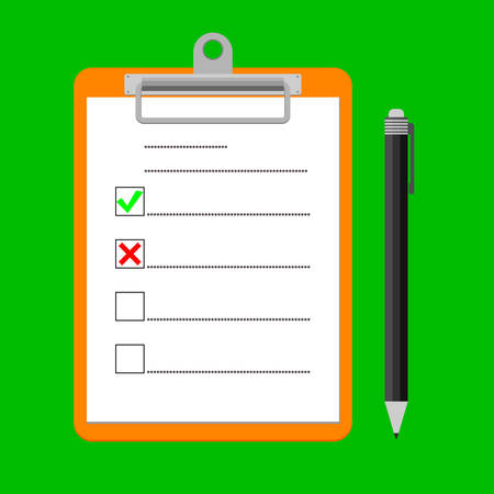 Clipboard with green ticks check marks and pen. Checklist for business, complete tasks, to-do list, survey, note, exam concepts. Modern flat design graphic elements vector illustration.  イラスト・ベクター素材