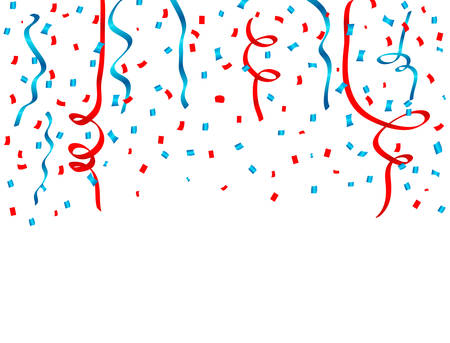 USA celebration red and blue confetti and Ribbons Falling. Concept in national colors for American Independence day, celebration event and birthday, isolated on white background. Vector illustration.