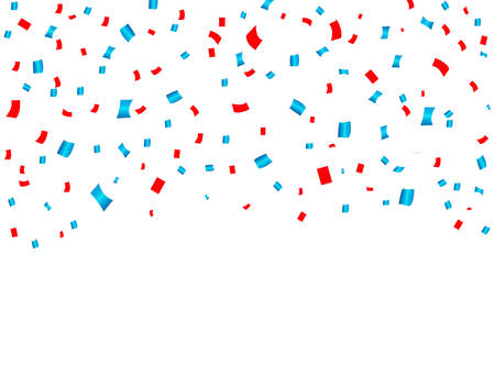 USA celebration red and blue confetti falling. Concept in national colors for American Independence day, celebration event and birthday, isolated on white background. Vector illustration.  イラスト・ベクター素材