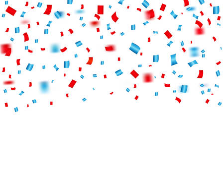 USA celebration red and blue confetti falling. Concept in national colors for American independence day, celebration event & birthday isolated on white background. Vector illustration  イラスト・ベクター素材