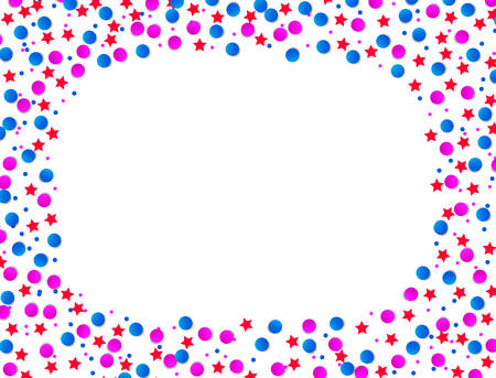 USA celebration blue and red confetti stars in national colors for American Independence day, isolated on white background. Vector illustration.