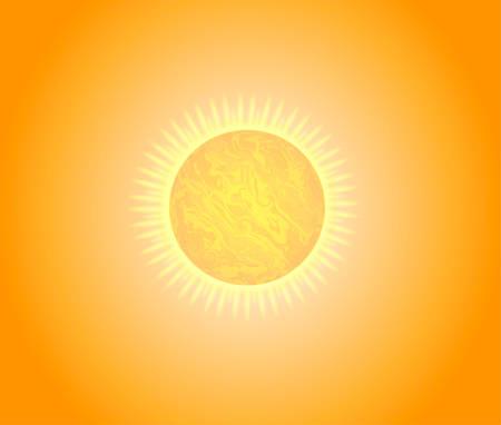 Sunny background, bright orange sunny rays. Background summer. Vector illustration