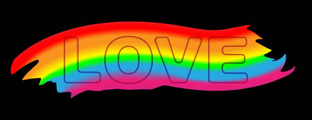 Love typography word rainbow color - LGBT pride slogan against homosexual discrimination on a pink background.   Vector illustration.  イラスト・ベクター素材