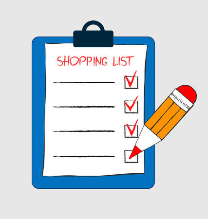 Clipboard with shopping list and pen.