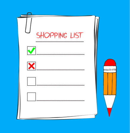 Shopping list icon in doodle sketch lines. Template for product purchase. Blank with mark. Vector illustration. Isolated on background. Inventory check and pencil tick