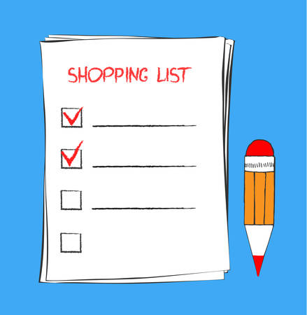 Shopping list icon in doodle sketch lines. Template for product purchase.