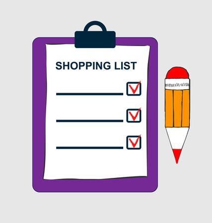 Clipboard with shopping list and pen. Template for product purchase.