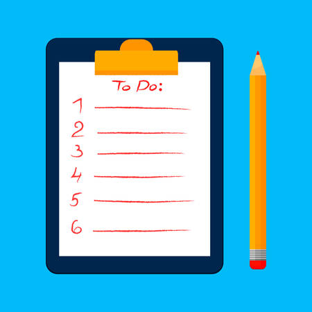 To do list or planning concept for business. Clipboard, survey or test with note, clipboard with documents with check boxes and pencil. Vector illustration.
