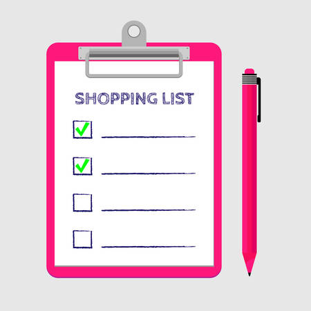 Clipboard with shopping list and pen. Template for product purchase. Blank with mark. Vector illustration. Isolated on background. Inventory check